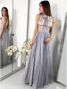 A-Line Jewel Cap Sleeves Floor-Length Grey Prom Dress with Appliques