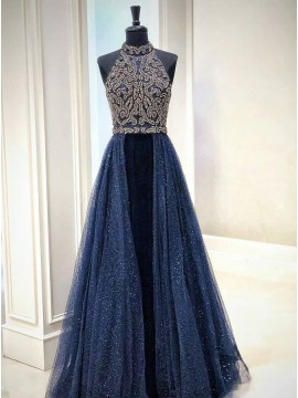 A-Line Halter Floor-Length Dark Blue Detachable Prom Evening Dress with Beading