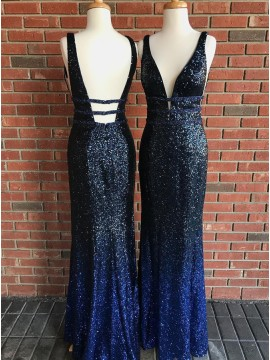 Mermaid Deep V-Neck Backless Floor-Length Dark Blue Sequined Prom Dress