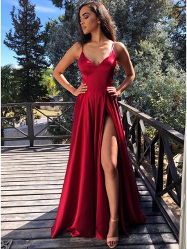 Modest V-neck Sleeveless Split Front Cross Back Dark Red Long Prom Dress