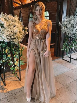 A-Line V-Neck Floor-Length Champagne Prom Dress with Beading Split