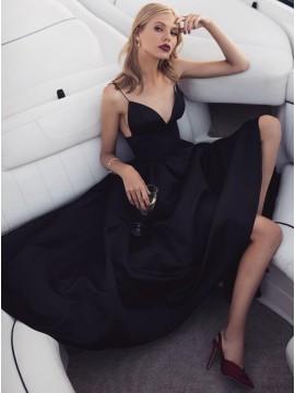 A-Line Spaghetti Straps Tea-Length Black Satin Prom Party Dress