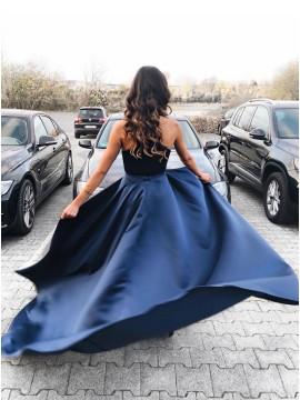 Long Halter Mermaid Party Dress Velvet Detachable Navy Blue Prom Dress