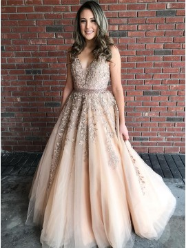 A-Line V-Neck Long Champagne Prom Dress with Appliques Beading