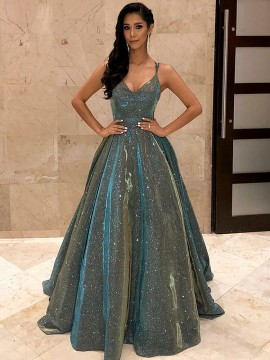 Spaghetti Straps Sleeveless Long Prom Dress Shiny Evening Dress