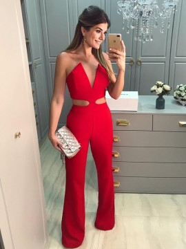 Sparkle Sheath Long Strapless Sleeveless Red Prom Jumsuit