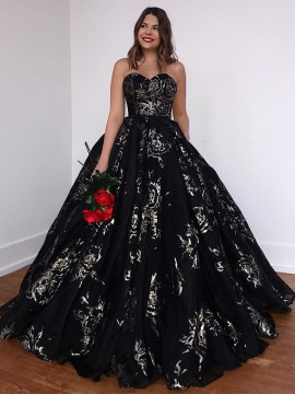 Sweetheart Ball Gown Prom Dress with Sequin Sleeveless Black Party Dress