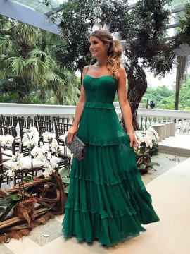 Spaghetti Straps Green Prom Dress with Tiered Sleeveless Long Party Dress