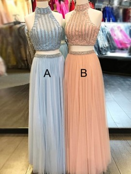 High Neck Peach Two Piece Prom Dress with Beading Long Blue Prom Gown