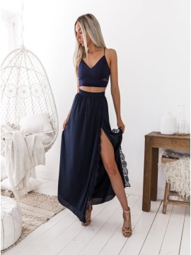 Spaghetti Straps Two Piece Prom Dress Long Blue Party Dress with Lace