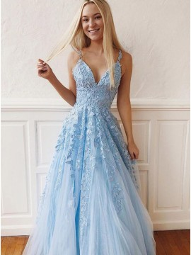 Light Blue Prom Dress with Appliques Sleeveless Long Prom Gown