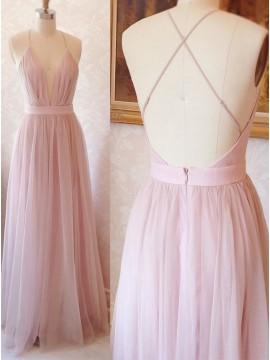 Spaghetti Straps Pink Prom Dress Sleeveless Simple Long Party Dress