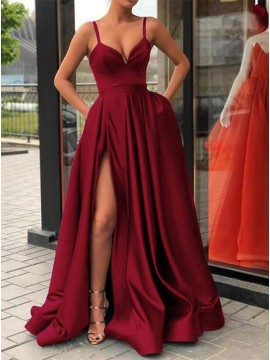 Elegant Burgundy Prom Dress with Split Spaghetti Straps Long Party Dress