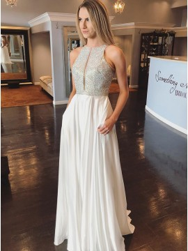 Elegant Jewel Open Back Sleeveless White Prom Dress with Sequin Pockets