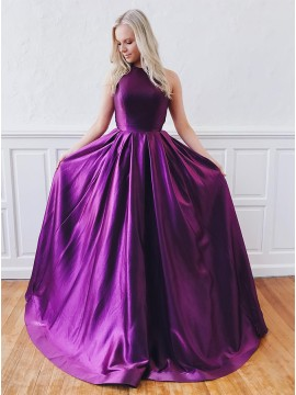 Modest A-Line Jewel Open Back Party Dress Purple Long Prom Dress