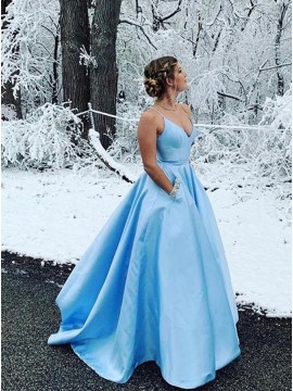 A-Line V-Neck Satin Sleeveless Long Light Blue Prom Dress with Beading