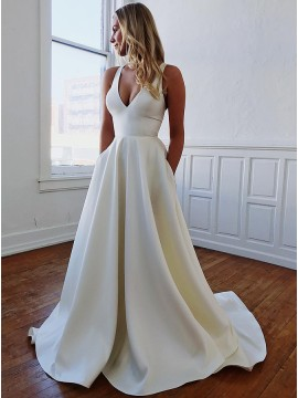Simple V-Neck Long Open Back Sleeveless White Wedding Dress with Bowknot