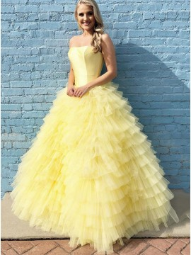 Ball Gown Princess Strapless Long Yellow Prom Dress with Tiered