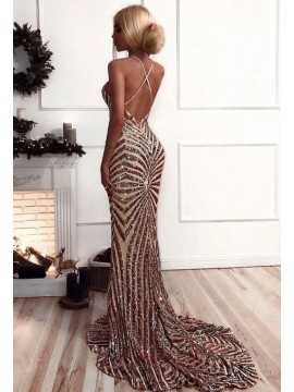 Sexy Deep V-Neck Champagne Long Prom Dress Sequin Mermaid Evening Dress