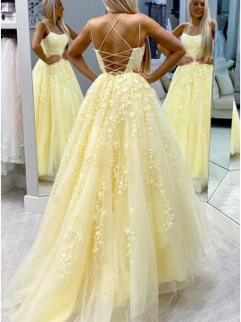 Princess Long Daffodil Prom Dress with Appliques