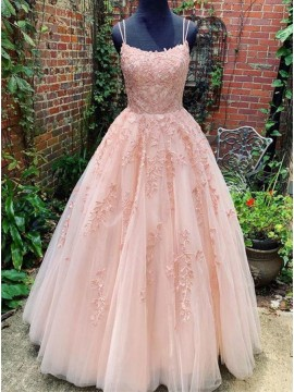 Princess Long Pink Prom Dress with Appliques