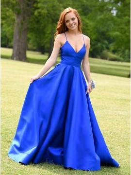 Simple Long Prom Dress Satin Royal Blue Formal Dress