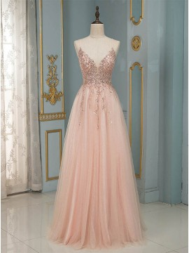 Pink Long Prom Dress with Sequin