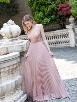 Long Ruched Pink Formal Dress