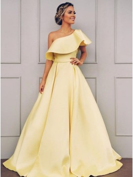 A-Line One-Shoulder Daffodil Prom Dress Long Party Dress with Ruffles