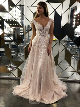 A-Line Sequins Champagne Wedding Dress with Appliques