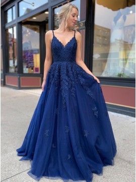 Long Navy Blue Prom Dress with Appliques