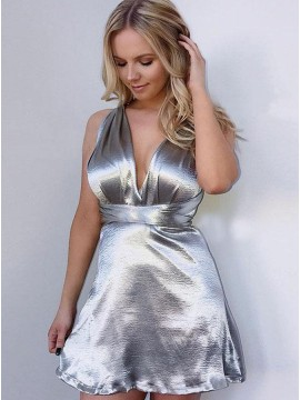 V-Neck Criss-Cross Straps Short Silver Homecoming Dress