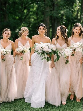 A-Line V-Neck Long Bridesmaid Dress With Sleeveless