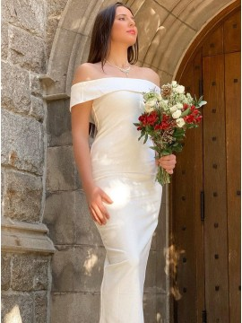 Sheath White Off the Shoulder Simple Wedding Dress