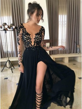 A-Line Round Neck Long Sleeves Black Prom Dress with Lace Legslit