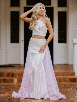 Pink Long Two Piece Prom Dress