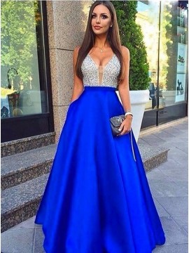 A-Line V-Neck Royal Blue Satin Prom Dress with Beading Pockets