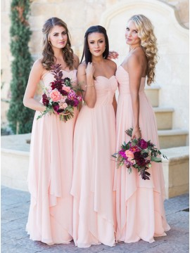 Beautiful A-Line Sleeveless Long Pink Sweetheart Bridesmaid Dress