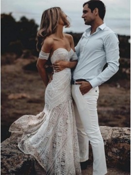 Mermaid Lace Bohemian Beach Wedding Dress