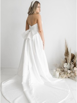 White A-Line Satin Sleeveless Court Train Wedding Dress with Strapless