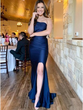 Navy Blue Satin Long Prom Dress