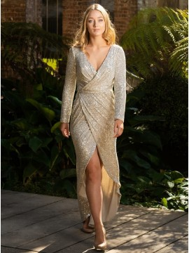 Sheath Long Sleeves Slit Leg Champagne V-Neck Prom Dress