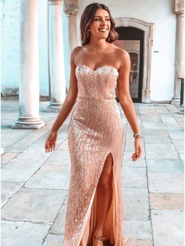 Strapless Mermaid Pearl Pink Evening Dress Long Mermaid Prom Dress