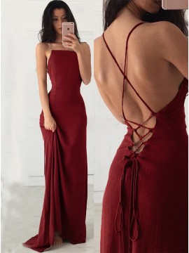 Spaghetti Straps Dark Red Prom Dress Simple Long Party Dress