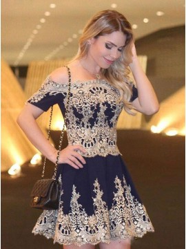 A-Line Off-the-Shoulder Short Sleeves Navy Blue Chiffon Homecoming Dress with Appliques