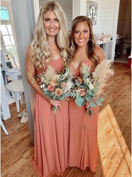 A-Line Zipper-up Spaghetti Straps Long Bridesmaid Dress With Sleeveless