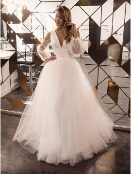 A-Line Long Sleeves Satin Long Sleeve Wedding Dress with Sweep Train