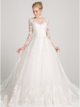 Ball Gown 3/4 Sleeves Chapel Train Open Back Wedding Dress with Appliques Beading