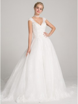 Ball Gown V-neck Cap Sleeves Chapel Train Wedding Dress with Appliques Beading