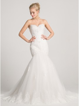 Mermaid Sweetheart Court Train Lace-Up Wedding Dress with Appliques Beading